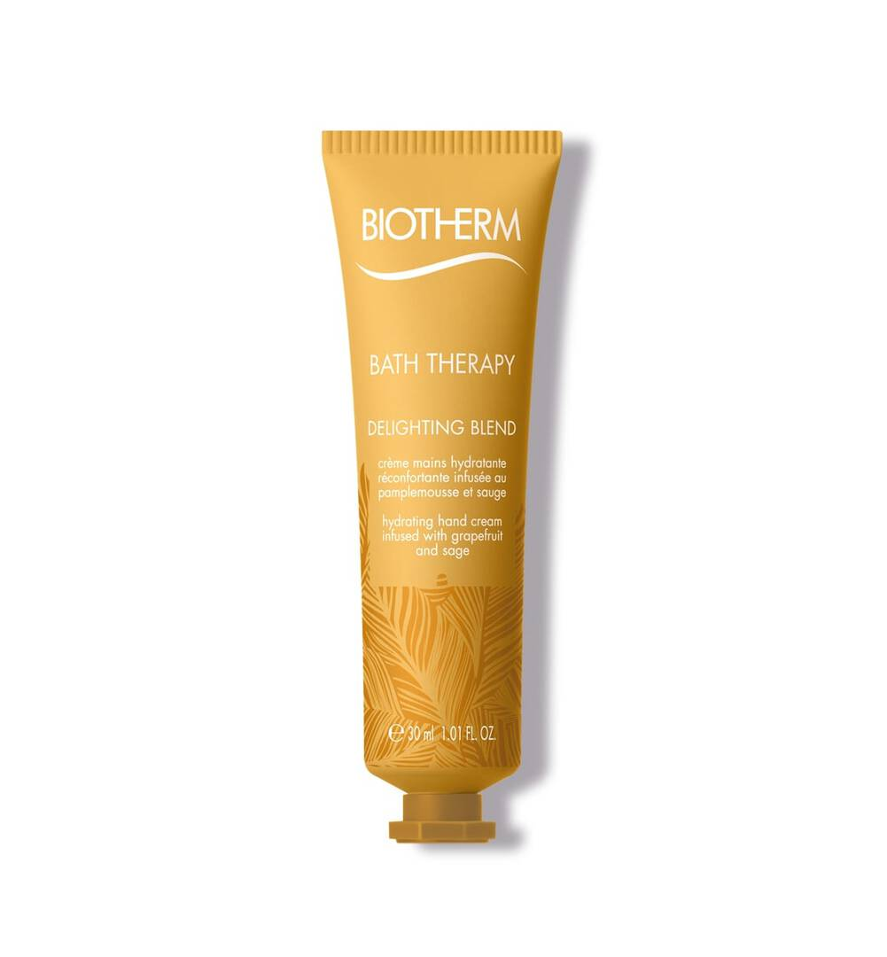 Bath Therarpy Delighting Hand Cream 1.01 Fl.oz. Biotherm The ideal care gesture to take everywhere%3A; A nourishing creamy texture deliciously infused with grapefruit and sage. It absorbs quickly to repair%2C; moisturize hands and leave skin soft and supple.