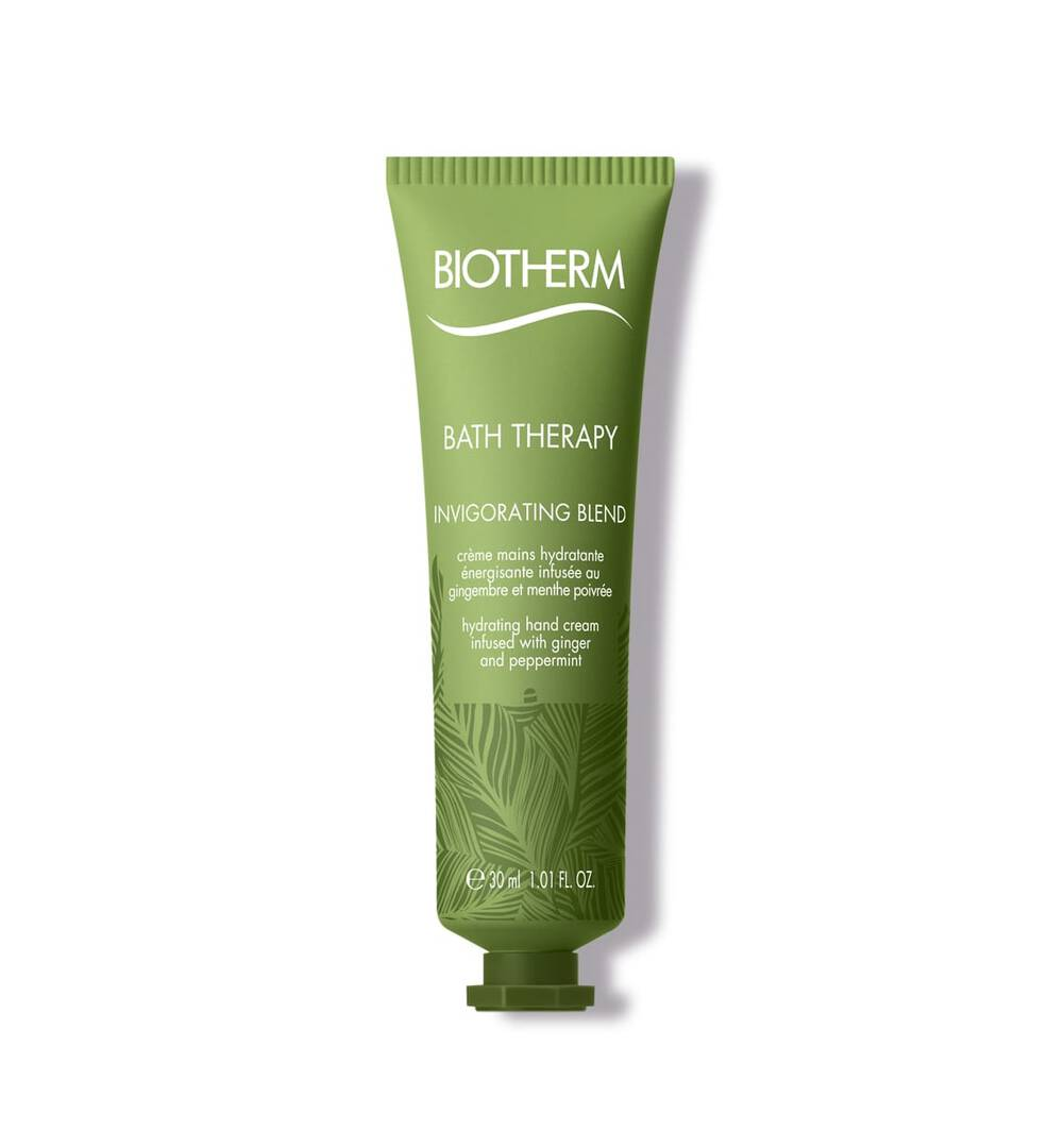 Bath Therapy Invigorating  Hand Cream 1.01 Fl.oz. Biotherm The ideal care gesture to take everywhere%3A; A nourishing creamy texture deliciously infused with ginger and peppermint. It absorbs quickly to repair%2C; moisturize hands and leave skin soft and supple.